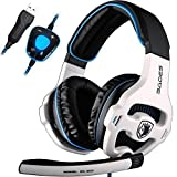 SADES Newest Model SA913 Lightweight PC Gaming Headset USB Stereo Surround Sound Over Ear Headphones with Microphone Vibration Volume Controller Multi-Color LED light for Gamers(Black)