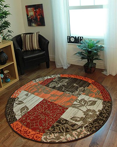Milan Brown, Red, Orange, Beige & Cream Patchwork Area Rug 1568-S22-5'3 Diameter Circle