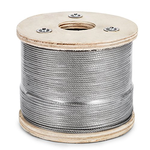 Happybuy 1/8 Inch T316 Stainless Steel Cable 7x7 Strand Winch Rope Aircraft Steel Cable StainlessSteelWire Rope Cable 500ft (1/8