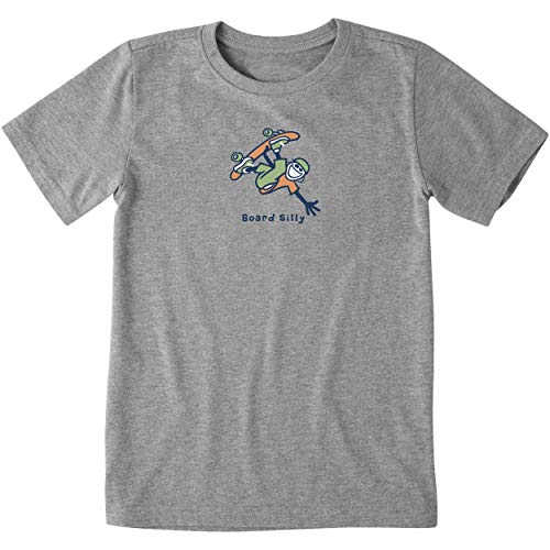 Life is Good Boys Graphic Vintage Jake T-Shirt Collection,Board Silly,Heather Gray,Large