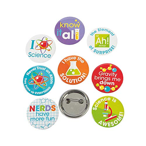 Fun Express - Science Party Mini Buttons (4dz) for Birthday - Jewelry - Pins - Novelty Buttons - Birthday - 48 ()