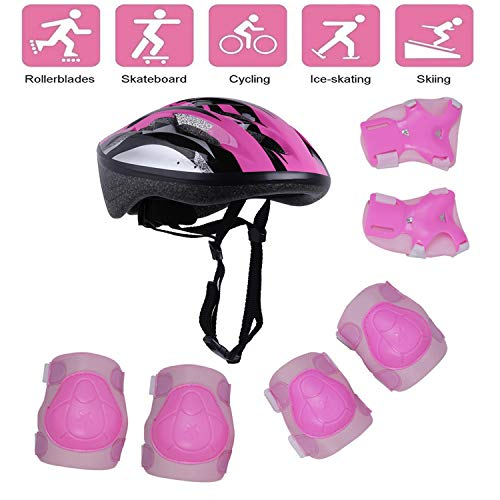 - Tour Sports Safety Protective Gear Set for Girls, Kids Helmet Elbow Pads Knee Pads Wrist Guard for Scooter Skateboard Skating Blading Cycling Riding (Pink)