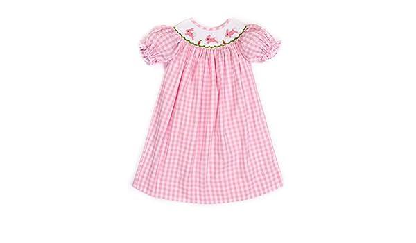 f80aca857 Amazon.com: Babeeni Easter Bunny Smocked Pink Check Dress (5): Clothing
