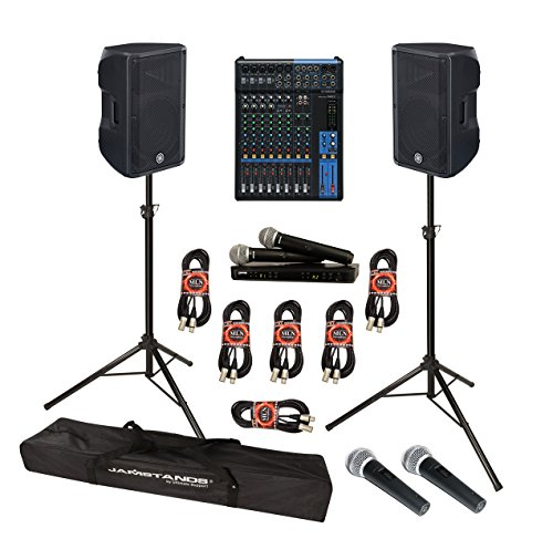 Yamaha DBR Series DBR12 Powered Speaker Cabinet Bundle with Yamaha MG12 Mixing Console, Shure BLX288/PG58 Dual Handheld Wireless Microphone System and Accessories - Portable Sound System (13 Items) (Dual Yamaha Speaker)