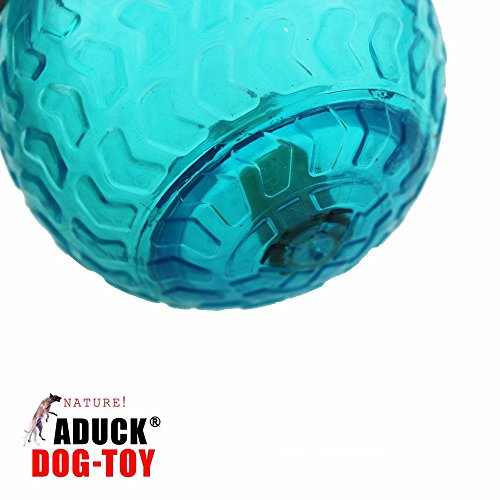 Image of Aduck Pet Puppy Dog Squeaky Ball Toys [Arrow Bouncy Series] [Non-Toxic Soft Natural Rubber], Cute Crystal Ball Design -3.15inch (Crystal Blue)