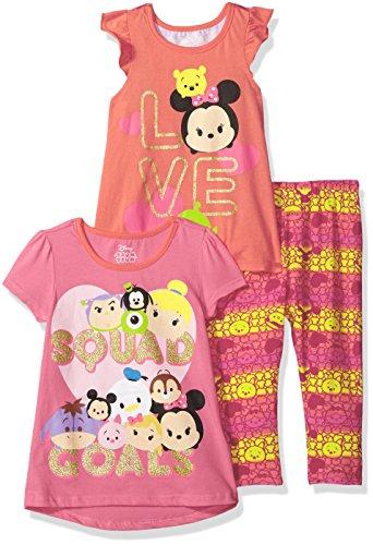 3 Piece Elastic Waist Leggings - Disney Toddler Girls' 3 Piece Tsum Legging Set, Red, 3t