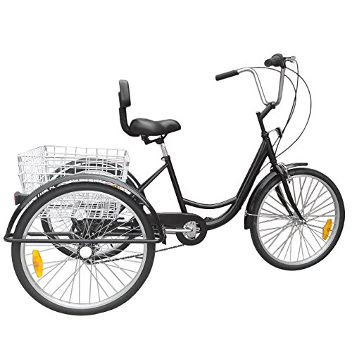 New 24″ 3-Wheel Unisex Adult Tricycle 6-Speed Bicycle W/ Basket -durable Fun safe black,popular