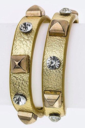 Wrapped Crystal Bracelet (Trendy Fashion Jewelry Pyramid & Crystal Studs Double Wrapped Bracelet By Fashion Destination | (Gold))
