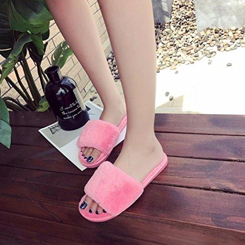 Femme Chaussures Fourrure Pastèque Faux Slipper Flip Hiver Claquette Flop Rawdah Flat rouge Sandal 6ARfWqwxqB