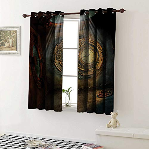 shenglv Fantasy Customized Curtains Fantasy Scenery with Clock Dream Sky Rays from The Ceiling Fictional Artwork Curtains for Kitchen Windows W63 x L45 Inch Brown and Teal