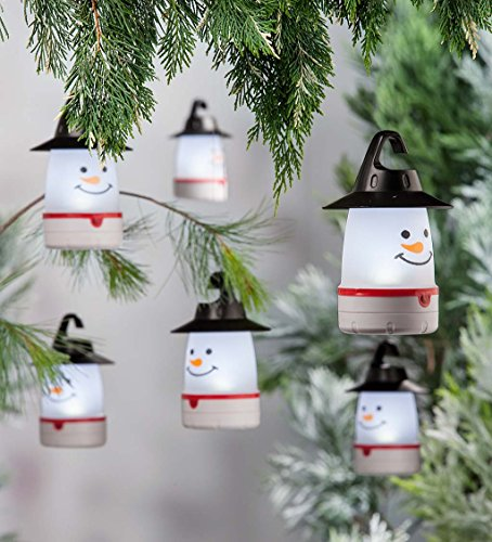 Plow & Hearth LED Snowman Lantern Lights, Set of 4 Christmas Décor, White -