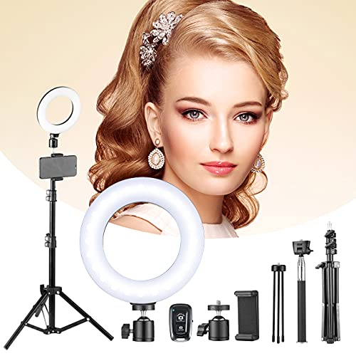 """6.5"""" Selfie Ring Light with 2 Tripod Stand & Phone Holder, VicTech FL Led Ring Light Kits with Selfie Stick and 5 Light Modes for Live Streaming Makeup YouTube Tiktok Video Shooting Vlog Photography"""
