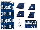 NFL Indianapolis Colts 18 Piece Bath Ensemble: Set Includes 1 Shower Curtain, 12 Shower Hooks, 2 Bath Towels, 2 Hand Towels 1 Bath mat