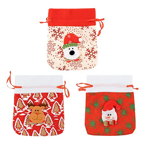 YINASI Christmas Candy Gift Bags, 3 Pieces Cute Pocket Hanging Christmas Treat Bags with Santa Claus,Snowman, Elk, Mini Storage Bag Travel Pouch Jewelry Cute Sacks