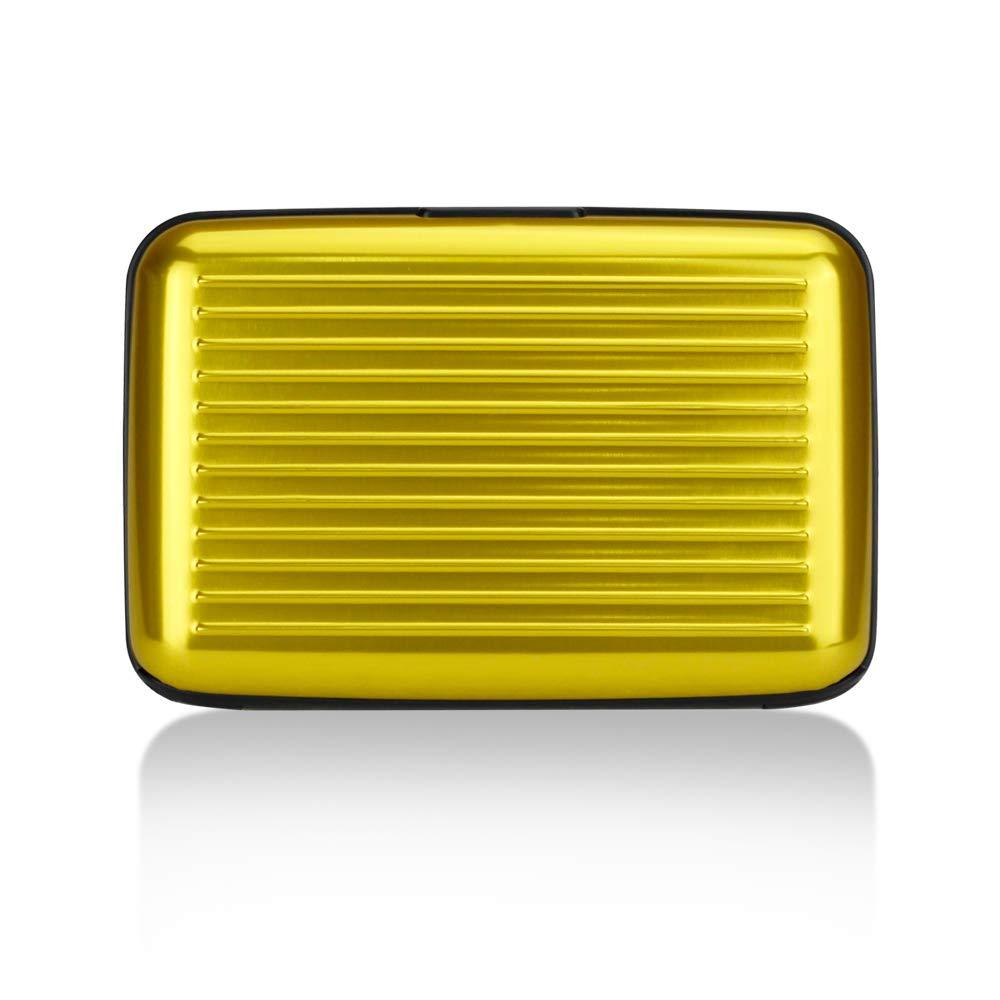 OBO HANDS Impermeable ID de la Empresa Titular de la Tarjeta de Crédito Estuche de billetera Tarjeta de Exploración RFID Lateral Brillante Metal Aluminio (amarillo)