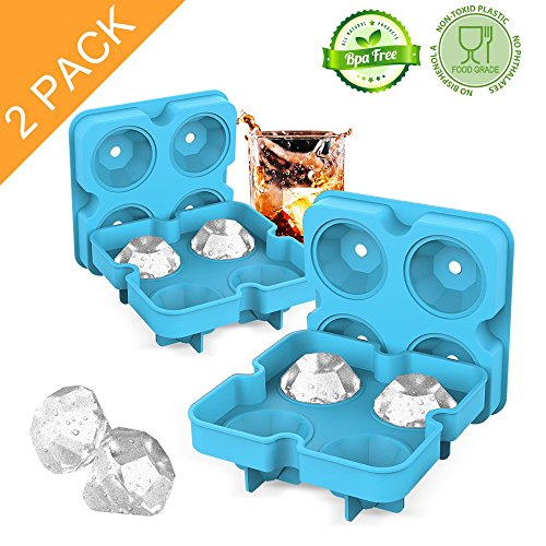 Ice Cube Trays with Lids, Diamond-Shaped Silicone BPA-Free Stackable Easy Release Ice Molds Multifunctional Storage Containers for Ice, Whiskey, Candy and Chocolate by Bella Vino(Blue-2Pack)