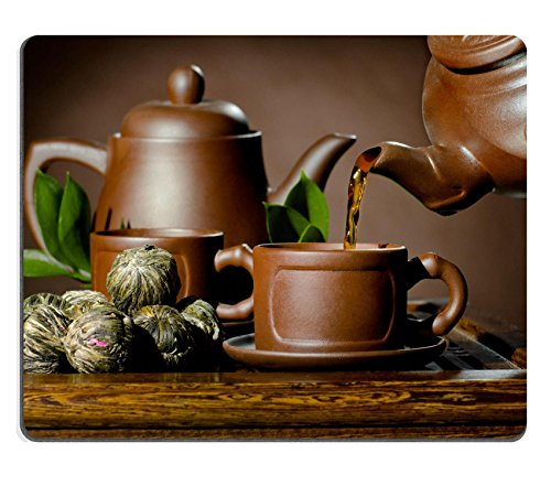 Liili Mouse Pad Natural Rubber Mousepad horizontal photo of the clay teapot tea flow in cup on brown background ceremony Image ID 22957292