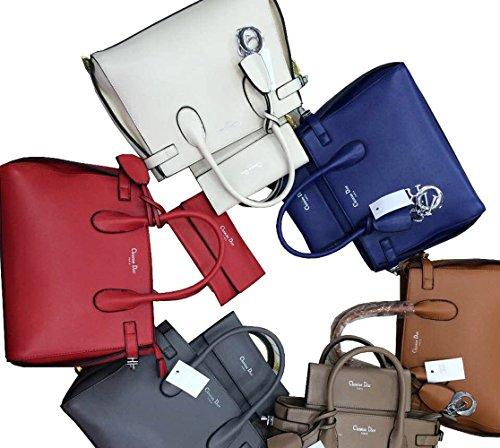 2016 Brand New Good Quality Modern Pu Leather Handbag 2 Psc One Set (blue)