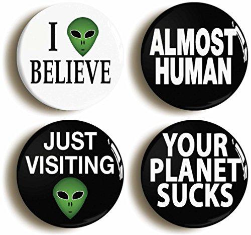 Alien Button Pin Set (Size Is 1inch Diameter) Et Roswell Ufo Costume (Alien Invasion Costume)