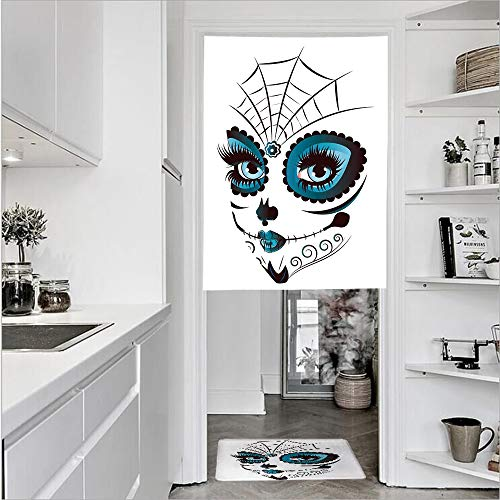 "SCOCICI 3D Printed Linen Textured French 1 Panel Door Curtains 1pcs Doormat Kitchen Mat Rug,Teen Girl Face Make Up Ornate Design Single Panel Door Curtain 31.5"" w 51.2"" h + 1 PCS Doormat 15.7"" h from SCOCICI"