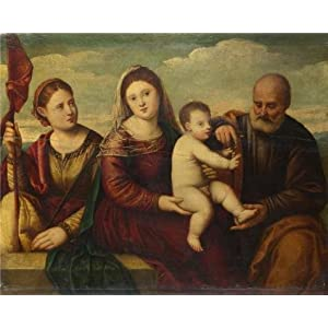 Perfect Effect Canvas ,the Replica Art DecorativePrints On Canvas Of Oil Painting 'Bernardino Licinio - The Madonna And Child With Saints,about 1510-30', 10x12 Inch / 25x32 Cm Is Best For Bedroom Decor And Home Decor And Gifts