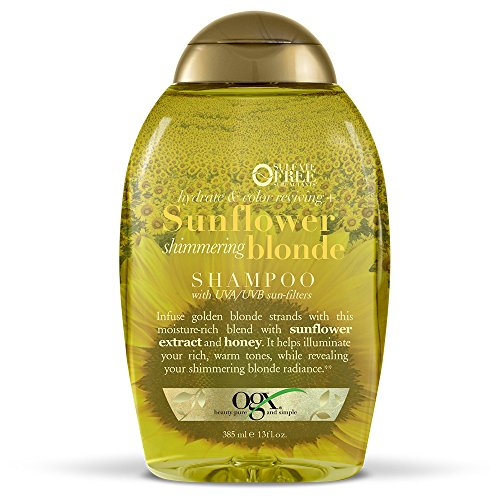 OGX Hydrate & Color Reviving + Sunflower Shimmering Blonde Shampoo with UVA/UVB Sun-Filters, 13 Ounce