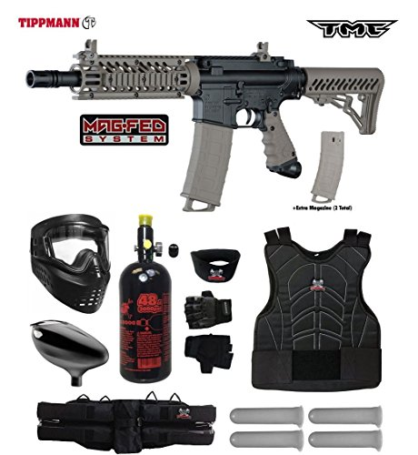 Deluxe Sling Padded Rifle (Tippmann TMC MAGFED Starter Protective HPA Paintball Gun Package - Black/Tan)
