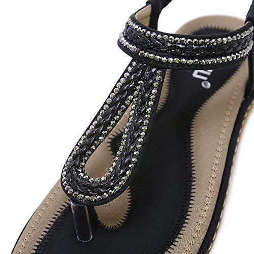 Sandali nero Classico Donna Decorate Perline Antiscivolo Infradito uBeauty Eleganti new Traspirante Bohemia Piatti 7Snwt5q1xv