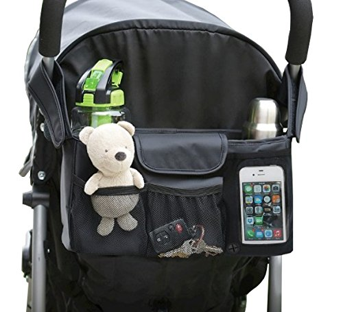 BEST STROLLER ORGANIZER Baby Accessory-Universal Fit w/ Adjustable Straps-Two Deep Cup Holders-Adjustable Compartments-Stroller Caddy-Extra Large Space For Diapers & Toys (BLACK)