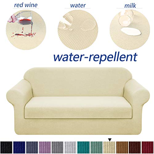 Granbest Stretch Sofa Slipcovers 3 Cushion Couch Covers Water-Repellent Pet Furniture Covers Dog Couch Protectors (Beige, Sofa-2 Pieces) (Pillows With Slipcover For Couch)