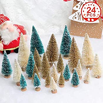 OurWarm 24pcs Mini Christmas Trees, Small Frosted Sisal Christmas Trees, Bottle Brush Trees for Christmas Table Top Decor Winter DIY Crafts Green, Gold and Ivory