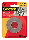 Scotch Outdoor Mounting Tape, 1-inch x 60-inches, Gray, 1-Roll (411P)