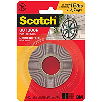 Marvelous Scotch Outdoor Mounting Tape, 1 Inch X 60 Inches, Gray, 1 Roll (411P)