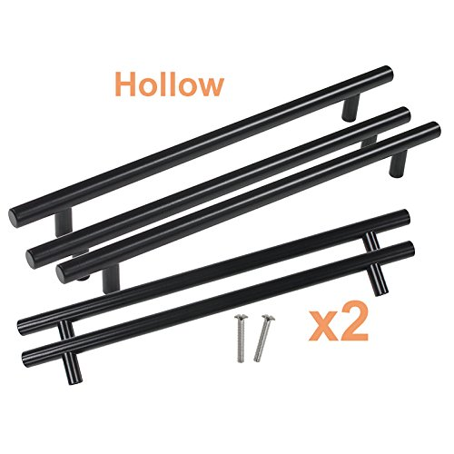 Gobrico 8-4/5in Holes Euro Style Black Hollow T Bar Drawer Cabinet Cupboard Kitchen Handles Pulls and Knobs,11-3/10