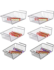 Under Shelf Basket, iSPECLE 6 Pack Wire Rack, Slides Under Shelves For Storage, Easy to Install Grey Black