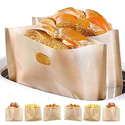 Non Stick Toaster Bags Reusable and Heat Resistant Easy to Clean,Perfect for Sandwiches Pastries Pizza Slices Chicken Nuggets Fish Vegetables Panini & Garlic Toast