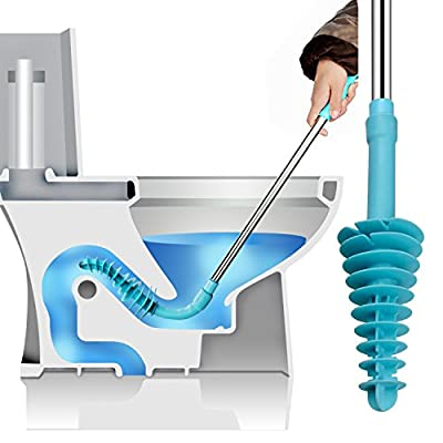 Toilet Plunger, Samshow Toilet Dredge Designed for Siphon-Type, Power Cleaned Toilet Pipe, Patented, Environmentally friendly, Stainless steel Handle with Wall Hook