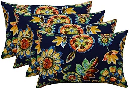 RSH DECOR Set of 4 Indoor Outdoor 12 x20 Rectangle Lumbar Decorative Throw Pillows – Daelyn Navy Blue Floral