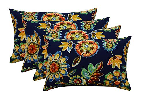 RSH DECOR Set of 4 Indoor Outdoor 12 x20 Rectangle Lumbar Decorative Throw Pillows – Daelyn Navy Blue Floral
