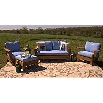 4pc margaritaville patio furniture conversation set blue palm tree reverible cushions - Garden Furniture 4 Seater