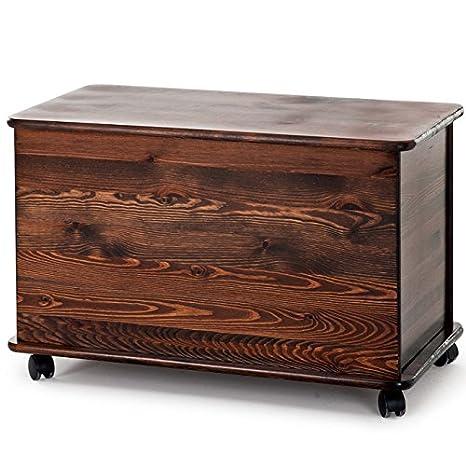 Cassapanca per esterno baule contenitore legno grezzo noce 73x39x45 ...