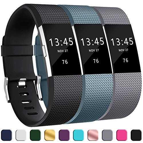 GEAK Replacement Bands for Fitbit Charge 2, Adjustable Classic Wristbands for Fitbit Charge 2, Large Black Gray Slate ()