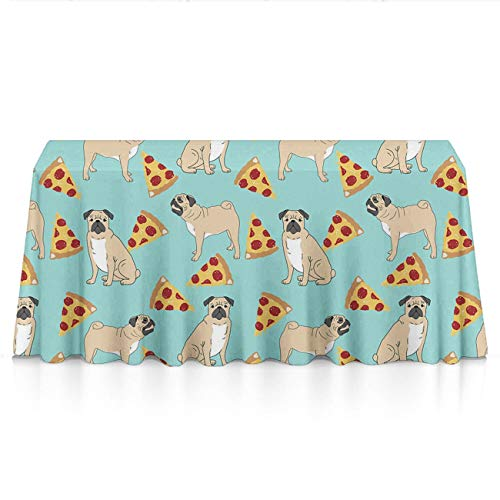 NiYoung Table Cloth, Spillproof Wrinkle Free Table Cloth, Rectangular Funny Vector Dogs Pug Puppies Pattern Pizza Table Toppers for Family Dinners, Parties, Restaurant, Dinner Parties, Picnic]()