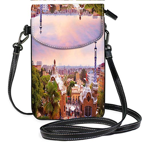 (High-end Fashion Microfiber Crossbody Bag Park Guell in Barcelona at Sunset Multifunction Travel Crossbody Purse Wallet)