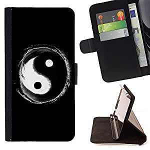 King Art - Premium PU Leather Wallet Case with Card Slots, Cash Compartment and Detachable Wrist Strap FOR Apple iPhone 6 6S Plus 5.5- Eight trigrams of Yin and Yang