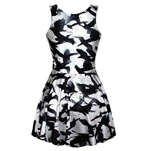 SOTW Fashion Summer Pleated Knee-length Reversible Spandex Skater Sun Dress for Women, Raven, Black and White