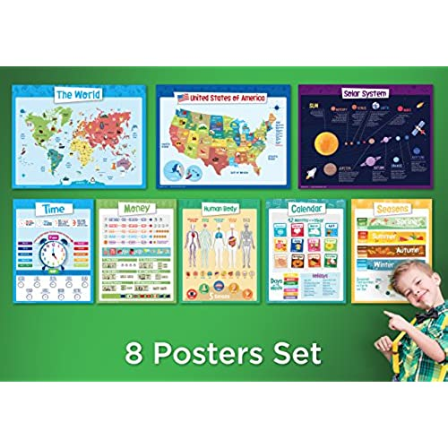 cheap 8 Educational Posters for Kids - Explorer Set - Includes ...