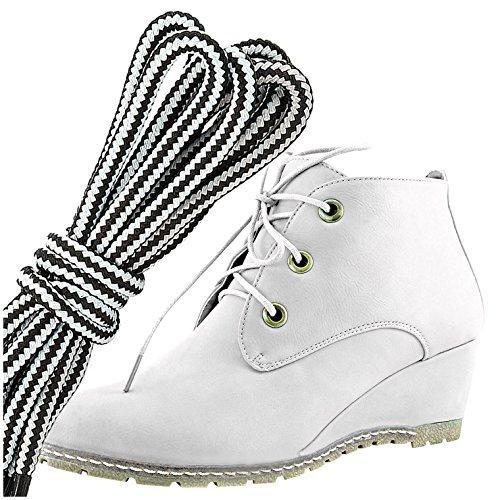 Dailyshoes Moda Donna Allacciatura Punta Rotonda Stivaletto Zeppa Alta Oxford, Bianco Bianco Pu
