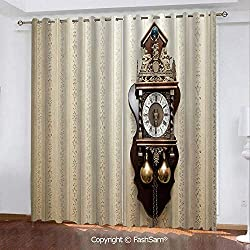 FashSam Blackout Curtains Set Room Darkening Drapes an Antique Wood Carving Clock with Roman Numerals Hanging on The Wall Design Darkening Panel for Bedroom(84X84)