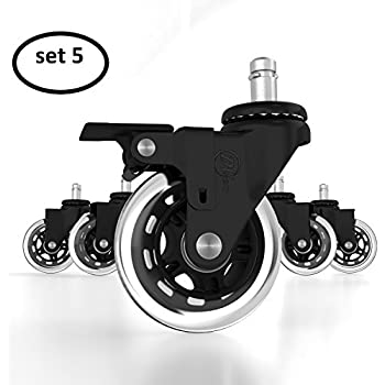 office chair caster wheels locking casters replacement black rubber wheels. Black Bedroom Furniture Sets. Home Design Ideas